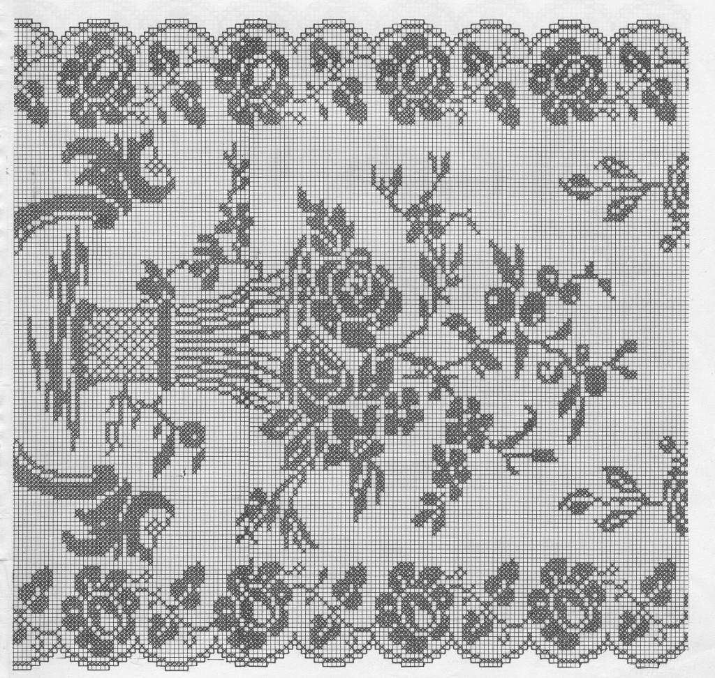schemi uncinetto filet della corsia rose e angeli