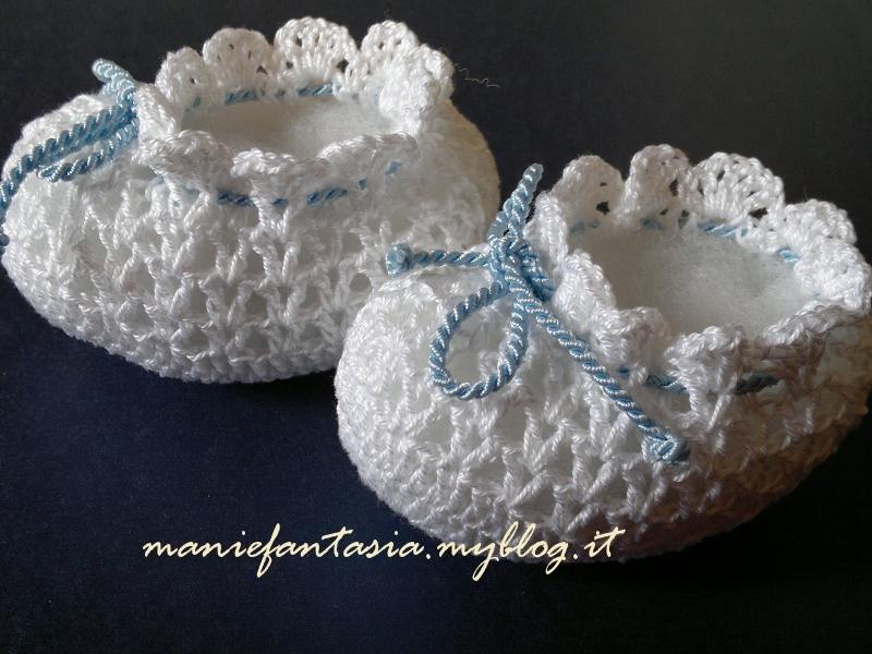 Scarpine neonato uncinetto di cotone manifantasia for Idee uncinetto