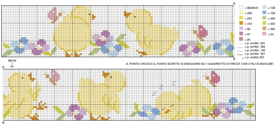 schemi punto croce bimbi nascita copertine lenzuolini