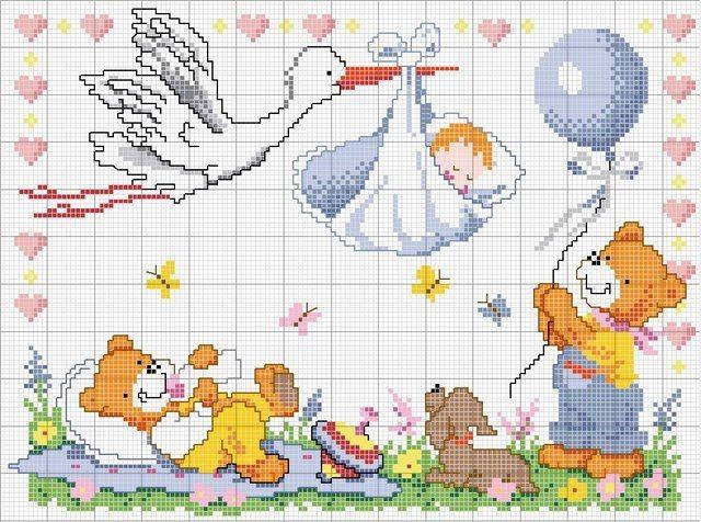 Schemi punto croce bimbi nascita copertine lenzuolini for Punto a croce bambini